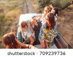 Six Girls Have Fun On The Car...