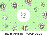 vector frame with bees and... | Shutterstock .eps vector #709240123