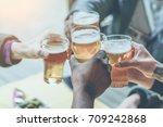 multiracial group of friends... | Shutterstock . vector #709242868