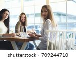 portrait of successful female... | Shutterstock . vector #709244710