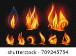 set of flames   modern vector... | Shutterstock .eps vector #709245754