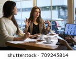 concentrated businesswoman... | Shutterstock . vector #709245814