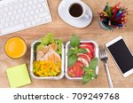 lunch box with healthy diet... | Shutterstock . vector #709249768