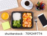 lunch box with healthy diet... | Shutterstock . vector #709249774