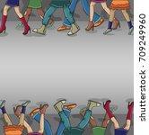 the steps of people on asphalt... | Shutterstock .eps vector #709249960