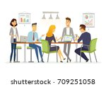 business discussion   vector... | Shutterstock .eps vector #709251058