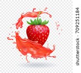 strawberry fresh juice. fruit... | Shutterstock .eps vector #709251184