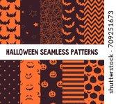 halloween vector seamless... | Shutterstock .eps vector #709251673