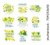 lemonade logo  100 percent pure ... | Shutterstock .eps vector #709253650