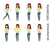 set of woman  girl in casual... | Shutterstock .eps vector #709258456
