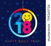 2018 seasons greetings happy... | Shutterstock .eps vector #709263724