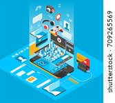 isometric smart phone interface.... | Shutterstock .eps vector #709265569