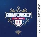 modern professional softball... | Shutterstock .eps vector #709268848