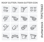 roof gutter or rain gutter for... | Shutterstock .eps vector #709270663