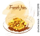 isolated golden french fries on ... | Shutterstock .eps vector #709272898