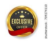 exclusive offer golden medal... | Shutterstock . vector #709274110