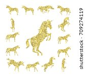 set gold unicorn silhouette... | Shutterstock .eps vector #709274119