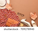 autumn arrives. fashion lady... | Shutterstock . vector #709278940
