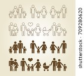 line and outline family icons... | Shutterstock .eps vector #709280620