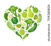 heart with green vegetabels and ... | Shutterstock .eps vector #709280824