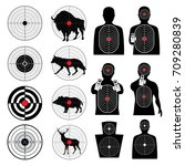 gun shooting targets and aiming ... | Shutterstock .eps vector #709280839