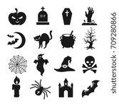 halloween black silhouette... | Shutterstock .eps vector #709280866