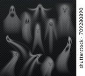 spooky transparent halloween... | Shutterstock .eps vector #709280890