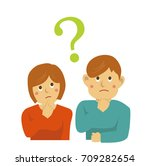 man and woman have questions | Shutterstock .eps vector #709282654