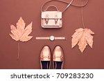 autumn arrives. fall fashion... | Shutterstock . vector #709283230
