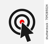 cursor arrow in circle with red ... | Shutterstock .eps vector #709285024