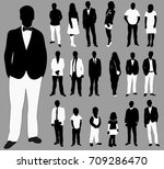set of silhouettes of people ... | Shutterstock . vector #709286470