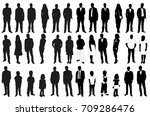 isolated set of silhouettes of... | Shutterstock . vector #709286476