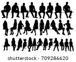 isolated silhouette of sitting... | Shutterstock . vector #709286620