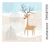 christmas deer  greeting card | Shutterstock .eps vector #709287553