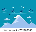 business people running over... | Shutterstock .eps vector #709287943