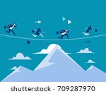 business people running over... | Shutterstock .eps vector #709287970
