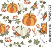 autumn seamless pattern with... | Shutterstock .eps vector #709293028
