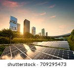 solar panels city at china | Shutterstock . vector #709295473