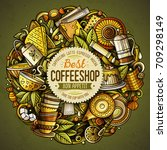 cartoon vector doodles tea... | Shutterstock .eps vector #709298149
