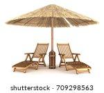 sunbeds under an umbrella made...   Shutterstock . vector #709298563