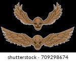 hand drawn skull vector set... | Shutterstock .eps vector #709298674
