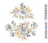 set of vintage floral bouquets... | Shutterstock .eps vector #709308250