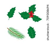 vector flat holly tree ... | Shutterstock .eps vector #709308694