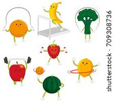 cute and funny fruit and berry... | Shutterstock .eps vector #709308736