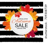 shiny autumn leaves sale banner.... | Shutterstock .eps vector #709308739