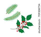 vector flat holly tree ... | Shutterstock .eps vector #709308754