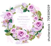 roses floral round wreath frame ... | Shutterstock .eps vector #709309039