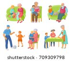 grandparents spending time with ... | Shutterstock .eps vector #709309798