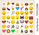 set of most popular emoticons.... | Shutterstock .eps vector #709315888