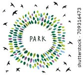 park emblem on the card with... | Shutterstock .eps vector #709316473